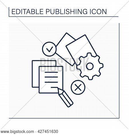 Edit Line Icon. Prepare Text For Publication Or Public Presentation. Change Or Correction Of Literat