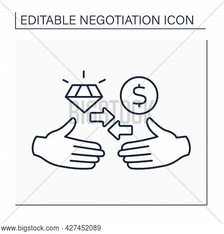 Logrolling Line Icon. Trading Acts Across Issues In Conversation. Business. Handshake. Negotiation C