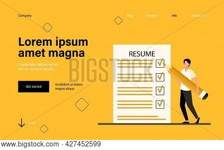 Tiny Man Preparing Resume For New Work Search. Job, Pencil, Vacancy Flat Vector Illustration. Occupa