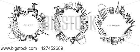 Frames With Black And White Pills And Medicines, Medical Face Mask, Sanitizer Bottles, Medical Therm