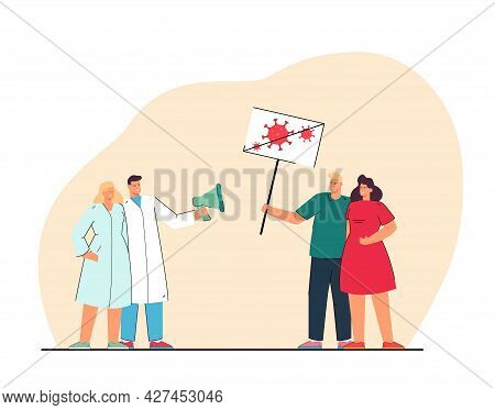 Confrontation Between Doctors And Patients. Flat Vector Illustration. Medical Workers With Mouthpiec
