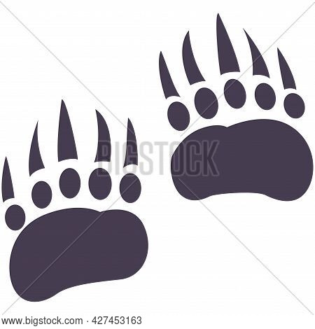 Vector Flat Foot Prints Of Grizzly Bear Steps. Illustration Isolated On White Background. Bear Paw.