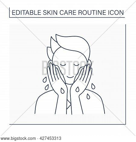 Cleansing Line Icon. Man Wash Face By Water. Cosmetology. Beauty Procedure. Skin Care Routine Concep