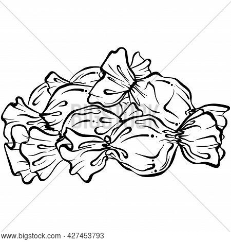 Candies In Wrapper. Hand Drawn Vector Illustration In Sketch Style Isolated On White. Sweet Confecti