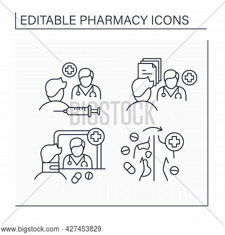 Pharmacy Line Icons Set.community Pharmacy, Efficacy, Specialty Drugs, Pharmaceutical Care. Healthca