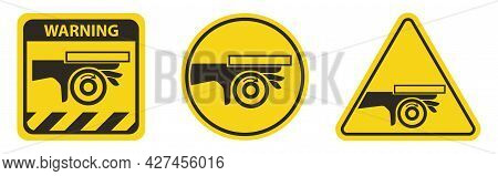 Hand Crush Roller Pinch Point Symbol Sign On White Background