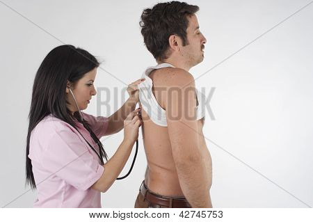 nurse auscultation to her patient for his health poster