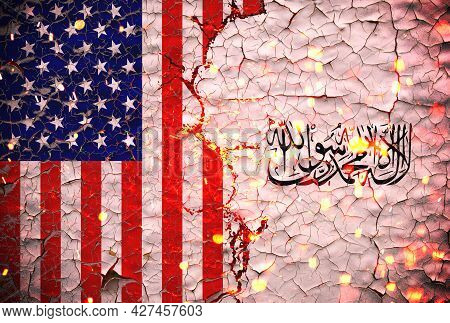 Us And Taliban Flags Painted Over Cracked Concrete Wall.and Lava Flows Behind.us Vs Taliban War.