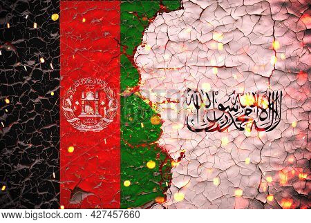 Afghanistan And Taliban Flags Painted Over Cracked Concrete Wall.and Lava Flows Behind. Afghanistan