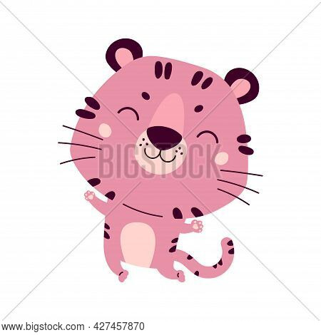 Happy Chinese New Year Greeting Card 2022. Funny Animal In The Chinese Zodiac. Tiger Zodiac Symbol.