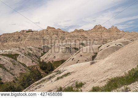 Badlands National Park, Sd, Usa - June 1, 2008: Green Foliage Grows In Crevasse Between Beige Geolog