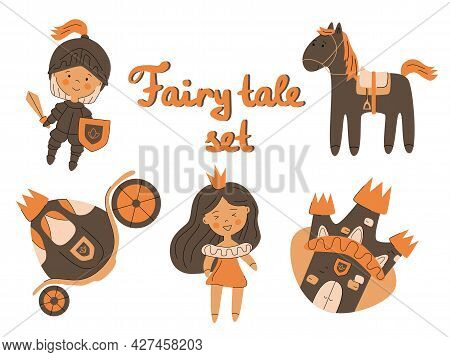 Set Of Fairy Elements Princess Castle Knight Carriage Horse Text Fairy Tale, Warm Colors Vector Illu