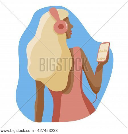 Girl Flat Character Listens Music In Headphones From Phone, Woman With Phone In Hand. Blonde Lady En