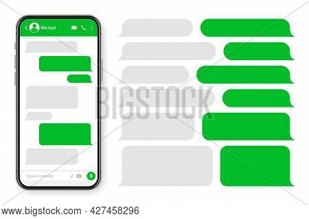 Realistic Smartphone With Messaging App. Blank Sms Text Frame. Conversation Chat Screen With Green M