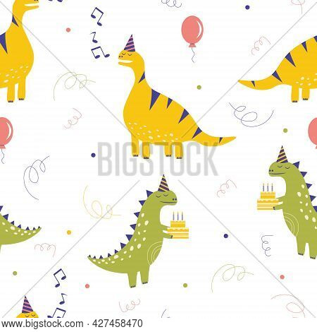 Seamless Pattern With Dinosaurs. Cute Happy Birthday Background. Birthday Celebration. Dinosaur In A