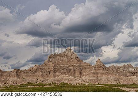 Badlands National Park, Sd, Usa - June 1, 2008: Dark Bad Looking Menacing Mountain Towers Over Top O