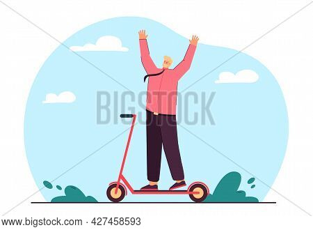 Happy Man On Scooter Flat Vector Illustration. Man In Suit Enjoying Life, Riding Scooter, Moving Aro