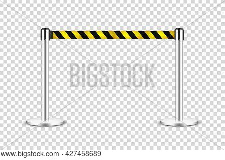 Realistic Retractable Belt Stanchion On Transparent Background. Crowd Control Barrier Posts With Cau