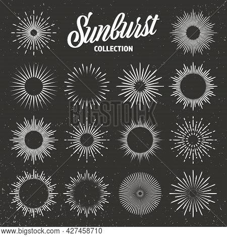 Vintage Grunge Sunburst Collection. Bursting Sun Rays. Fireworks. Logotype Or Lettering Design Eleme
