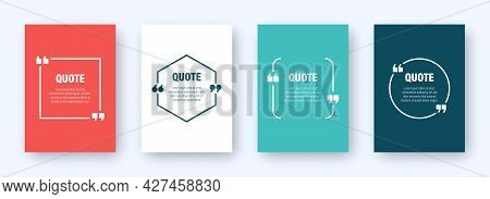 Set Of Colorful Banners With Quote Frames. Speech Bubbles With Quotation Marks. Blank Text Box And Q