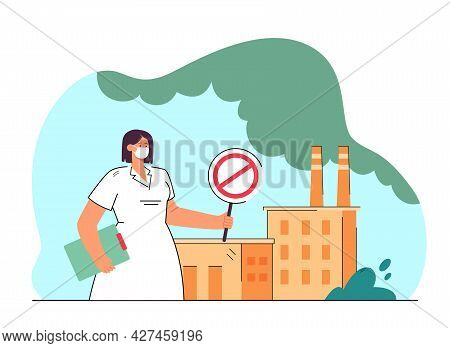 Harm To Human Health From Environmental Pollution. Flat Vector Illustration. Doctor With Prohibiting
