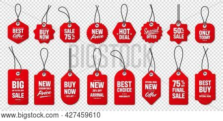 Realistic Red Price Tags Collection. Special Offer Or Shopping Discount Label. Retail Paper Sticker.