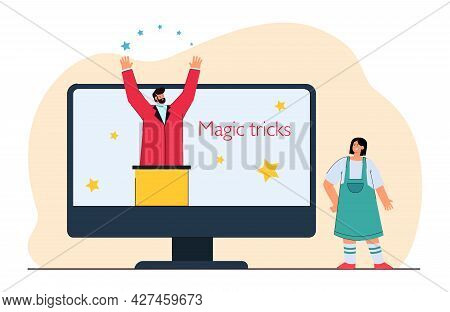 Tiny Girl Next To Huge Monitor Learning Magic Tricks. Flat Vector Illustration. Girl Watching Show W