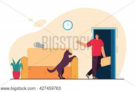 Man Leaving House And His Pet Alone. Flat Vector Illustration. Dog Seeing Off His Master Leaving Hou