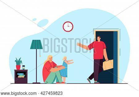 Mom And Daughter Saying Goodbye To Husband And Father. Flat Vector Illustration. Woman And Little Gi