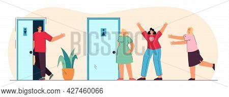 Comparison Of Queues For Women And Men In Public Toilets. Flat Vector Illustration. Man Walking Into