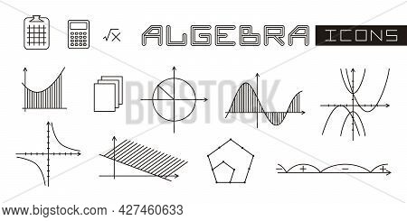 A Set Of Linear Isolated Elements For Algebra. Algebraic Graphs Of Mathematical Functions. Vector Il