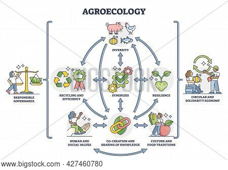 Agroecology As Ecological Agriculture And Responsible Farming Outline Diagram. Nature Friendly And B