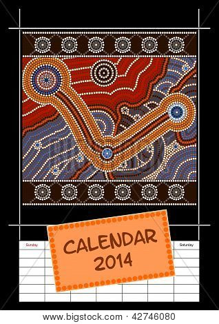 A Calender Based On Aboriginal Style Of Dot Painting Depicting Cover