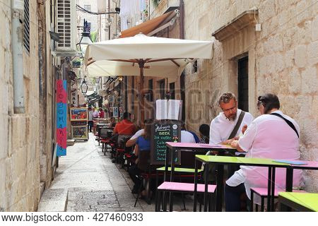 Dubrovnik, Croatia - September 8, 2016: This Is One Of The Narrow Side Streets Of The Old City With