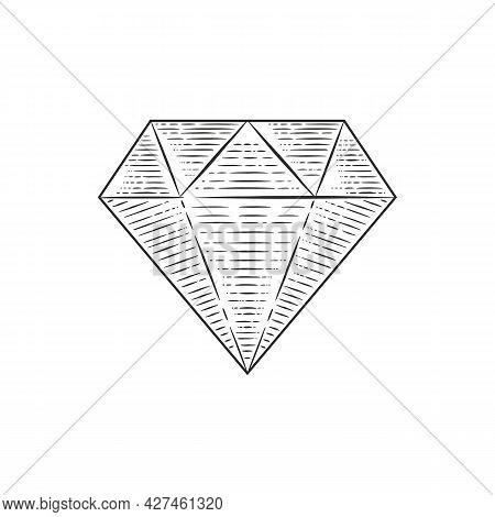 Engraved Diamond - Vintage Logo Template. Gem, Jewel Engraving Style Icon. Diamond Seal Stamp.trendy