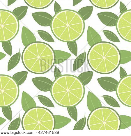 Seamless Pattern With Limes. Bright Pattern For Wallpaper, Fabric And Paper. Vector.
