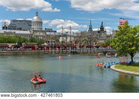 Montreal, Canada - 4 July 2021: Montreal Old Port In Summer With Bonsecours Market