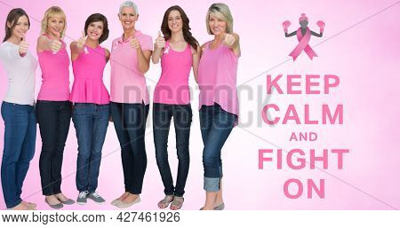 Composition of pink ribbon logo and breast cancer text, with diverse group of smiling women. breast cancer positive awareness campaign concept digitally generated image.