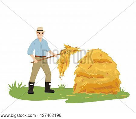 A Farmer Man In A Hat Holding A Pitchfork Collects Hay In A Stack. Agricultural Work. Vector Illustr
