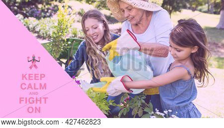Composition of october and breast cancer text, with smiling family outdoors watering plants. breast cancer positive awareness campaign concept digitally generated image.