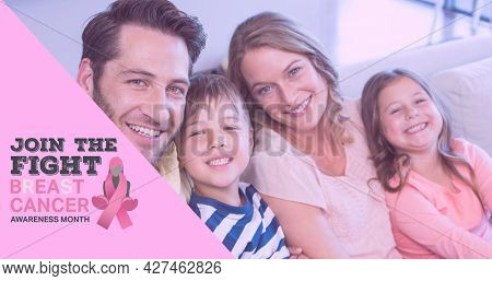 Composition of october and breast cancer text, with smiling family indoors. breast cancer positive awareness campaign concept digitally generated image.
