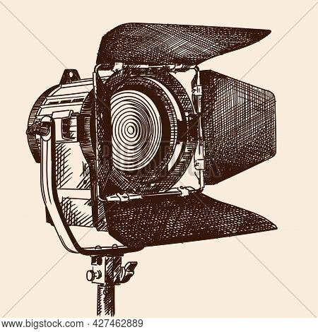 Constant Light Illuminator With Curtains And Fresnel Lens On A Stand For Filming Movies. The Device