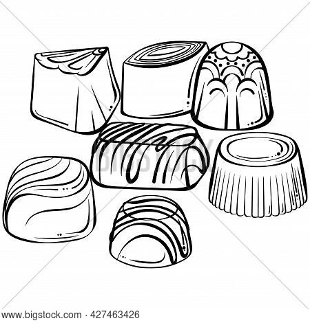Chocolate Candies Assorted. Hand Drawn Vector Illustration In Sketch Style Isolated On White. For De