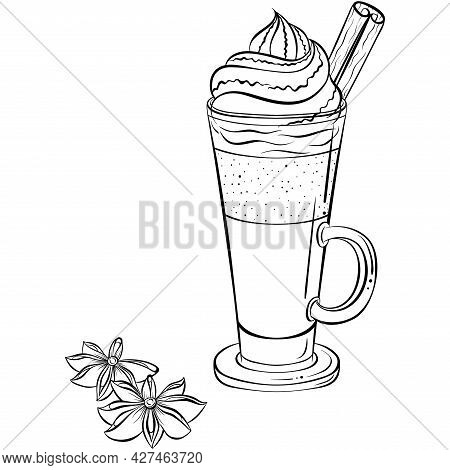 Caramel Frappe Coffee. Hand Drawn Vector Illustration In Sketch Style Isolated On White. Iced Mocha
