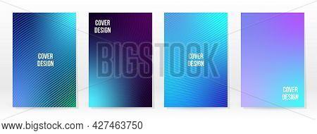 Minimal Poster. Pastel Soft. Blue Gradient Set. Graphic Color Background. Blurred Mesh Texture. Vect