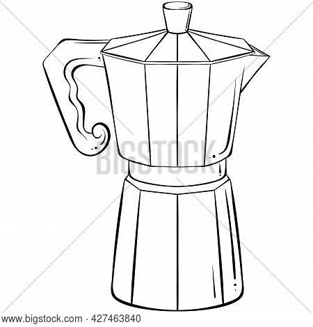 Italian Coffee Maker Or Moka Pot, Espresso Machine, Mocha Express. Hand Drawn Vector Illustration In