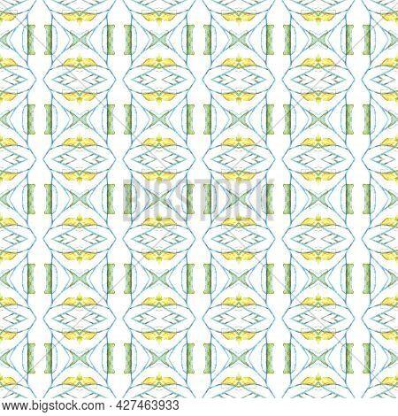 Folk Tribal Print. Geo Seamless Pattern. Geometric Watercolor Texture. Ethnic Print. Traditional End