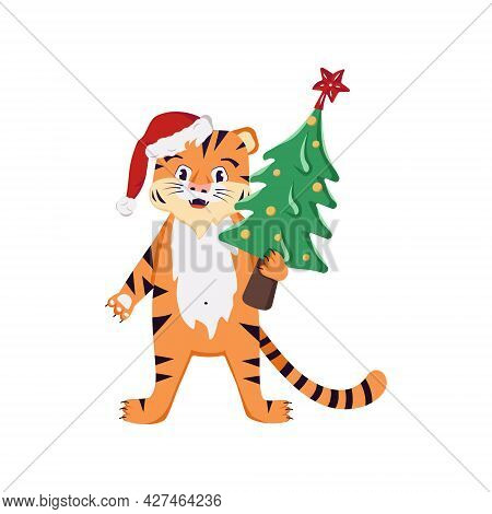 Orange Striped Tiger Cub In A Red Santa Hat With A Christmas Tree. Festive Decoration For The Winter