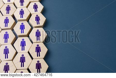 Set Of Hexagonal Figures Of People. Formation Of Company Personnel, Staffing. Hiring New Employees A