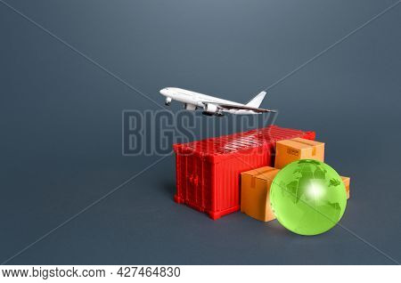 Cargo Plane Over A Container With Boxes And A Globe. Services Of Express Delivery And Transportation